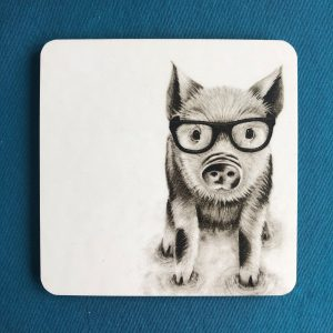 Intellectual Pig Coaster Blue2