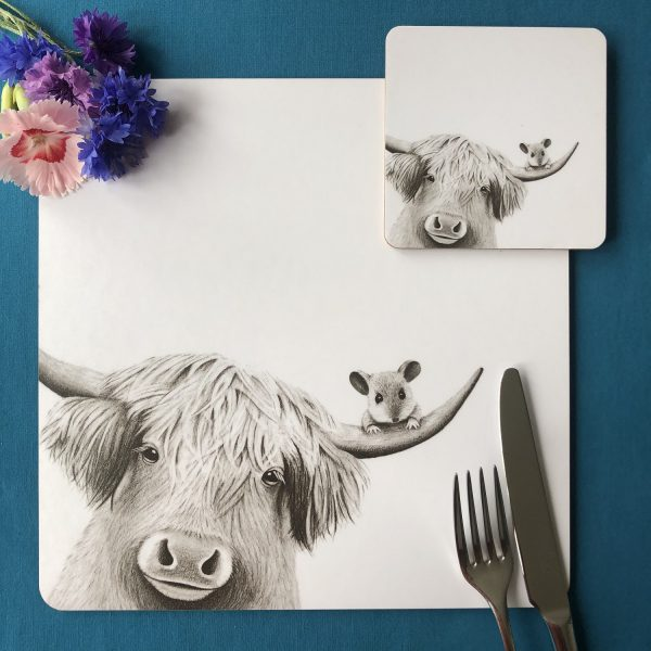 Moo and Mouse Placemat and Coaster