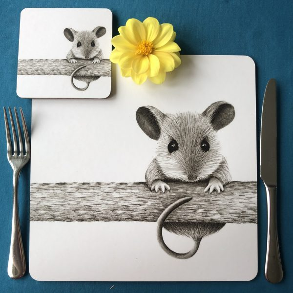 Mouse on a log Placemat Coaster