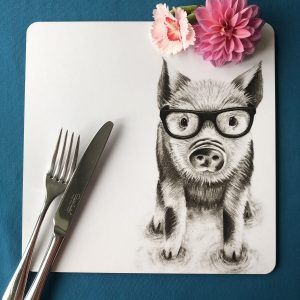 Intellectual Pig Square Placemat
