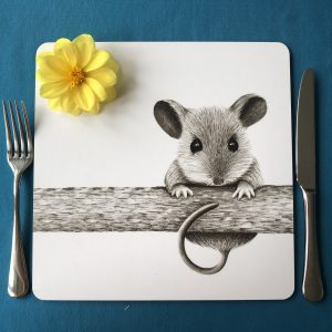 Mouse on a log Square Placemat