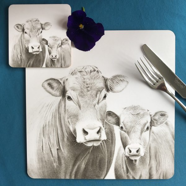Cow and Calf Placemat and Coaster