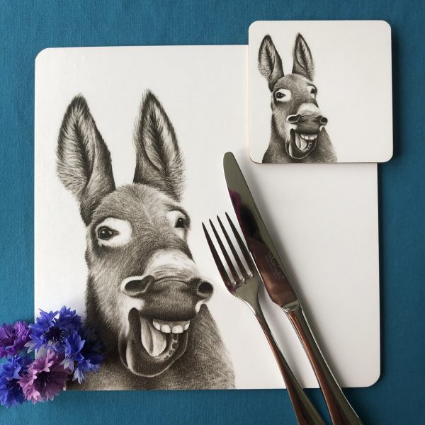 Donkey Placemat and Coaster