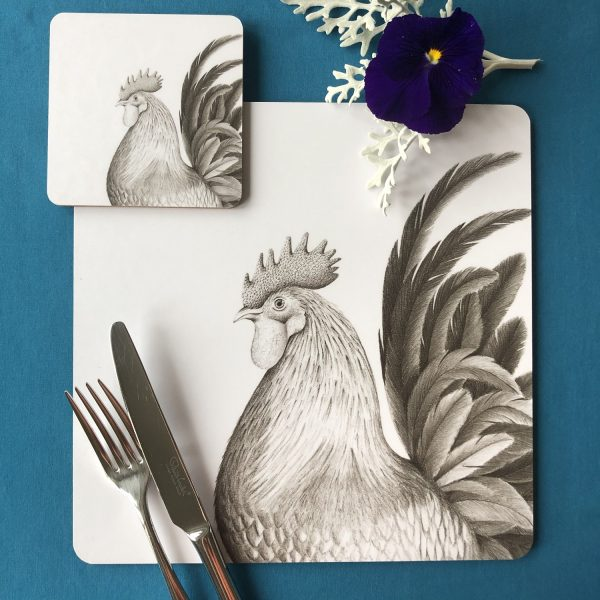 Rooster Placemat and Coaster